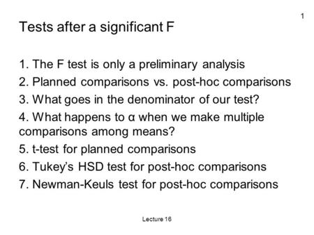 Tests after a significant F
