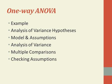 One-way ANOVA Example Analysis of Variance Hypotheses Model & Assumptions Analysis of Variance Multiple Comparisons Checking Assumptions.