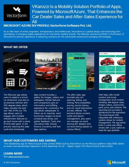 VKarozzi Is a Mobility Solution Portfolio of Apps, Powered by Microsoft Azure, That Enhances the Car Dealer Sales and After-Sales Experience for All MICROSOFT.