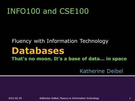 Fluency with Information Technology INFO100 and CSE100 Katherine Deibel 2012-02-29Katherine Deibel, Fluency in Information Technology1.