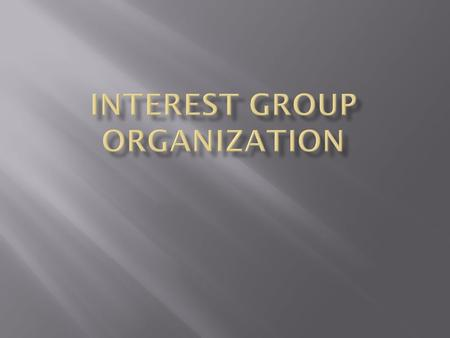  A group of people who share common goals and organize to influence government.