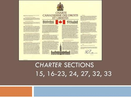 CHARTER SECTIONS 15, 16-23, 24, 27, 32, 33. Section 15 – EQUALITY RIGHTS 1. Every individual is equal before and under the law and has the right to the.