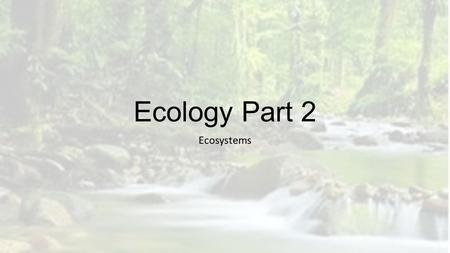 Ecology Part 2 Ecosystems. Factors that affect the Biodiversity of an Ecosystem Weather and Climate Biotic and Abiotic Factors Community Interactions.