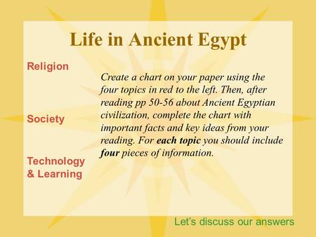 Life in Ancient Egypt Religion Society Technology & Learning Create a chart on your paper using the four topics in red to the left. Then, after reading.