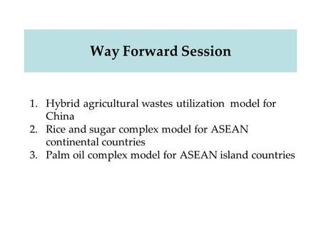 Way Forward Session 1.Hybrid agricultural wastes utilization model for China 2.Rice and sugar complex model for ASEAN continental countries 3.Palm oil.