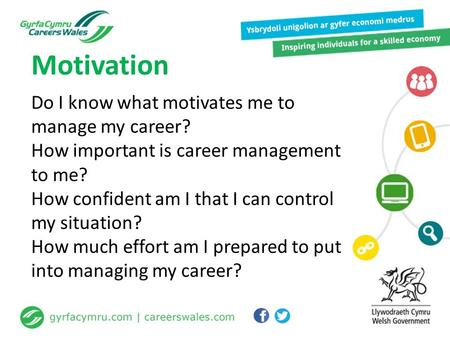 Do I know what motivates me to manage my career? How important is career management to me? How confident am I that I can control my situation? How much.