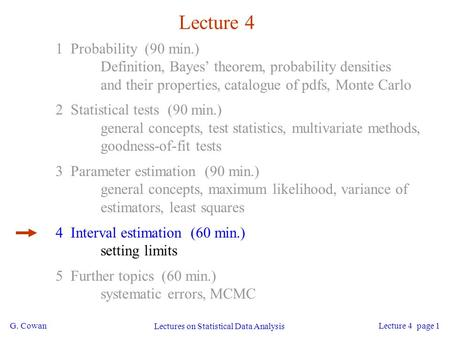 G. Cowan Lectures on Statistical Data Analysis Lecture 4 page 1 Lecture 4 1 Probability (90 min.) Definition, Bayes' theorem, probability densities and.
