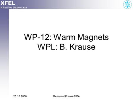 XFEL X-Ray Free-Electron Laser 23.10.2006Bernward Krause MEA WP-12: Warm Magnets WPL: B. Krause.