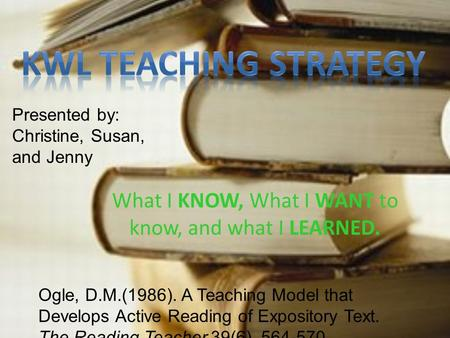 What I KNOW, What I WANT to know, and what I LEARNED. Ogle, D.M.(1986). A Teaching Model that Develops Active Reading of Expository Text. The Reading Teacher,39(6),