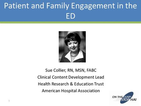 Patient and Family Engagement in the ED Sue Collier, RN, MSN, FABC Clinical Content Development Lead Health Research & Education Trust American Hospital.