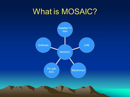 What is MOSAIC? MOSAIC Satellite TV dish LNBElectronics PC with ADC Software.