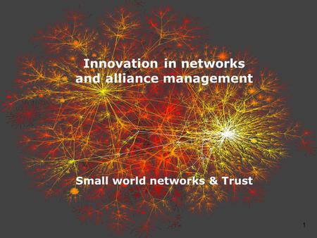 1 Innovation in networks and alliance management Small world networks & Trust.