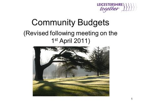 1 Community Budgets (Revised following meeting on the 1 st April 2011)