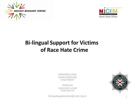 Bi-lingual Support for Victims of Race Hate Crime Belfast/Mid-Ulster Joanna Kuberczyk 07827299347 Northwest Agnieszka Luczak 07827297119