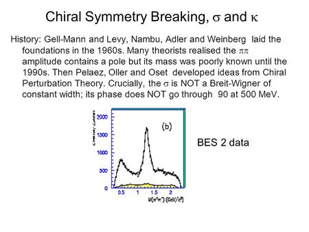 Chiral Symmetry Breaking,  and  History: Gell-Mann and Levy, Nambu, Adler and Weinberg laid the foundations in the 1960s. Many theorists realised the.