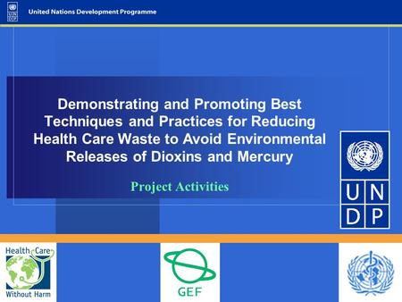 Demonstrating and Promoting Best Techniques and Practices for Reducing Health Care Waste to Avoid Environmental Releases of Dioxins and Mercury Project.