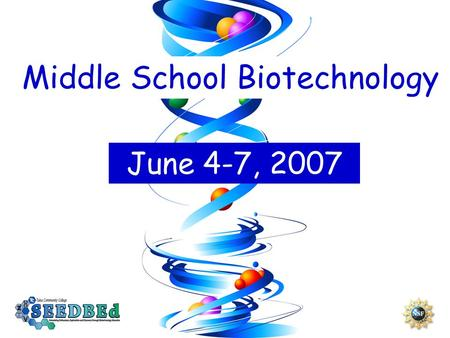 Middle School Biotechnology June 4-7, 2007. What will teachers learn? MODULE 1: Biotechnology Basics Where is the Genome? Stem cells Cloning Biotechnology.
