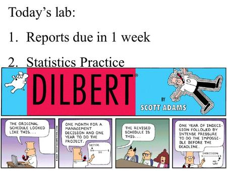 Today's lab: 1. Reports due in 1 week 2. Statistics Practice.