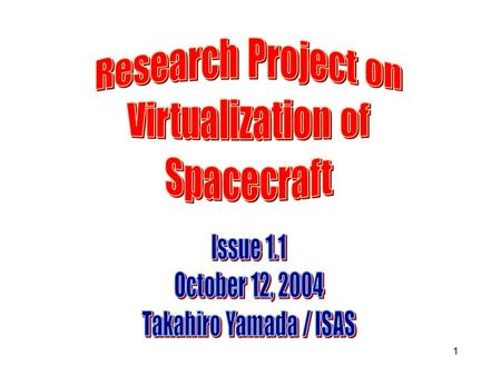 1. 2 Purpose of This Presentation ◆ To explain how spacecraft can be virtualized by using a standard modeling method; ◆ To introduce the basic concept.