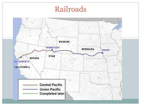 Railroads. Transcontinental Railroad Union Pacific  Led by Greenville Dodge; Civil War General  Started in Omaha, Nebraska and went west  Irish immigrants,