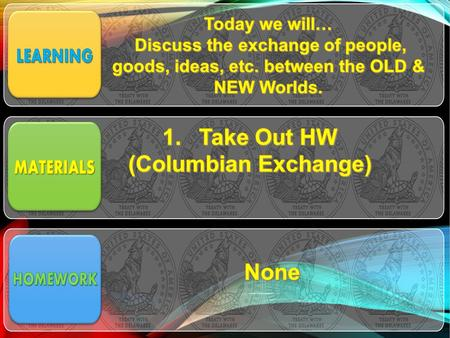HOMEWORK COLUMBIAN EXCHANGE POSTER Task: Your group will draw/ cut out pictures representing your topic in the Columbian Exchange Topics 1)Old World.
