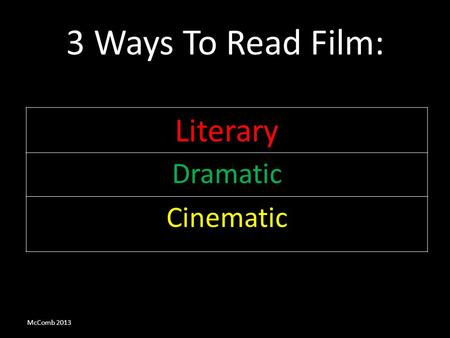 3 Ways To Read Film: Literary Dramatic Cinematic McComb 2013.