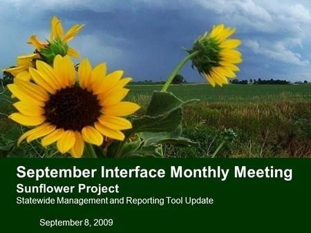 September Interface Monthly Meeting Sunflower Project Statewide Management and Reporting Tool Update September 8, 2009.