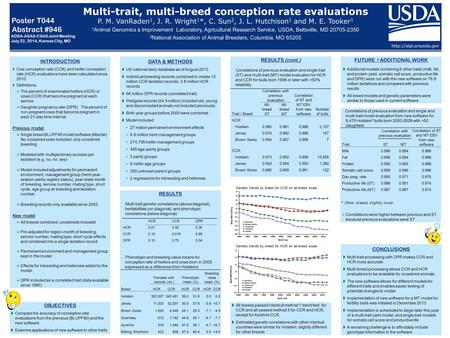 Multi-trait, multi-breed conception rate evaluations P. M. VanRaden 1, J. R. Wright 1 *, C. Sun 2, J. L. Hutchison 1 and M. E. Tooker 1 1 Animal Genomics.