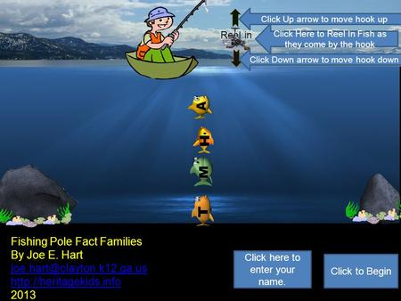ReeI in HA M T Fishing Pole Fact Families By Joe E. Hart  2013 Click to Begin Click here to enter your.