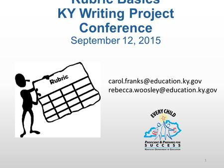Rubric Basics KY Writing Project Conference September 12, 2015 1