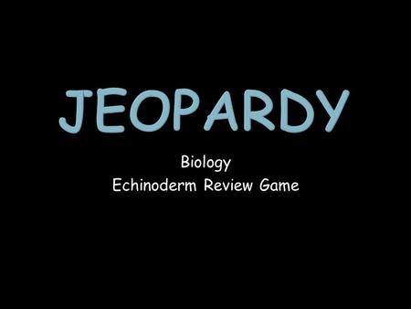Biology Echinoderm Review Game. Echinoderm Classes Echinoderm Anatomy Echinoderm Terminology Echinoderm Random Questions 1 point 1 point 1 point 1 point.