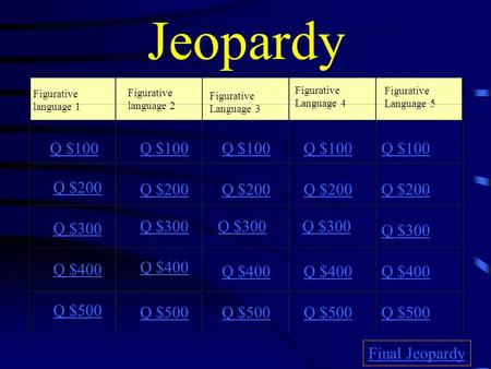 Jeopardy Figurative language 1 Figurative language 2 Figurative Language 3 Figurative Language 4 Figurative Language 5 Q $100 Q $200 Q $300 Q $400 Q $500.