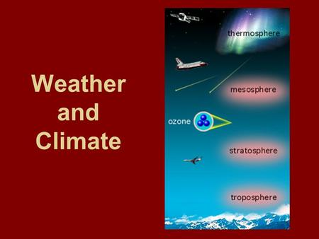 Weather and Climate Atomosphere ~ 78% N 2, 21% O 2, and other trace gases composed of many layers the ozone layer (O 3 )which absorbs much of the sun's.