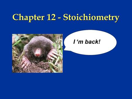 Chapter 12 - Stoichiometry I 'm back! I 'm back!