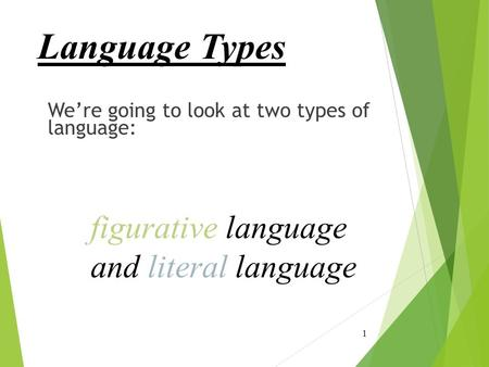 Language Types figurative language and literal language