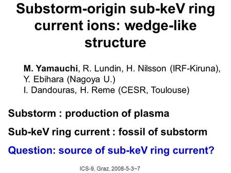 Substorm-origin sub-keV ring current ions: wedge-like structure ICS-9, Graz, 2008-5-3~7 Substorm : production of plasma Sub-keV ring current : fossil of.