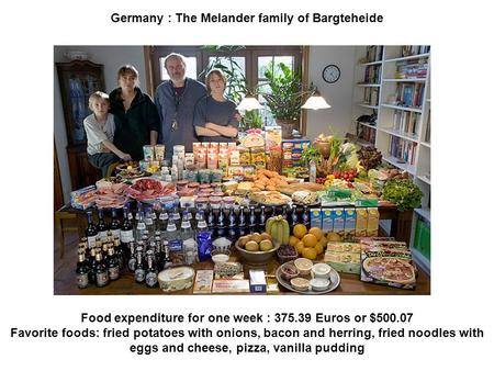 Germany : The Melander family of Bargteheide Food expenditure for one week : 375.39 Euros or $500.07 Favorite foods: fried potatoes with onions, bacon.