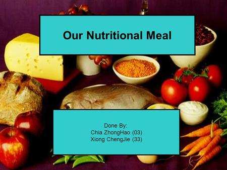Done By: Chia ZhongHao (03) Xiong ChengJie (33) Our Nutritional Meal.