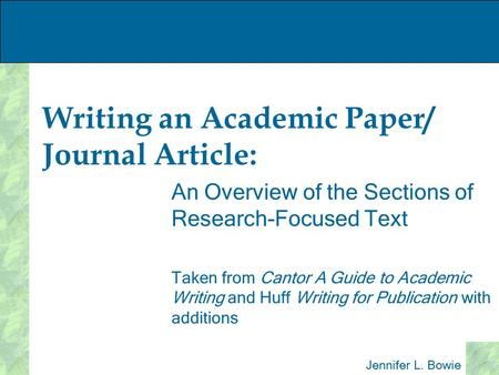 academic journal paper outline