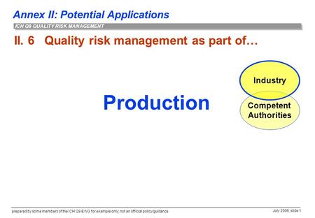 Annex II: Potential Applications prepared by some members of the ICH Q9 EWG for example only; not an official policy/guidance July 2006, slide 1 ICH Q9.