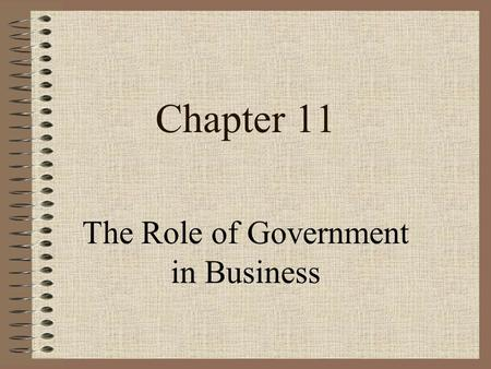 Chapter 11 The Role of Government in Business Ch 11 - The Role of Government in Business Slide 2 Learning Objectives 1.Describe 1.Describe ways government.