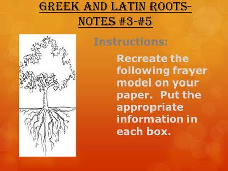 Greek and Latin Roots- Notes #3-#5 Instructions: Recreate the following frayer model on your paper. Put the appropriate information in each box.