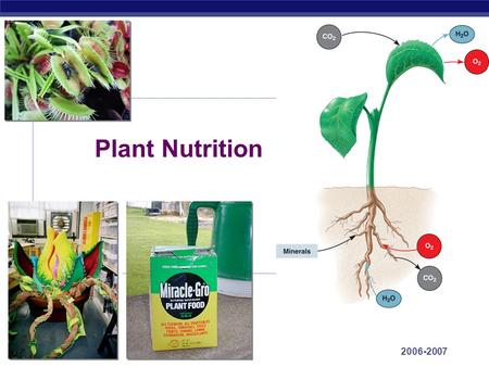 AP Biology 2006-2007 Plant Nutrition AP Biology Macronutrients  Plants require these nutrients in relatively large amounts  C, O, H, N, P, K, Ca, Mg,