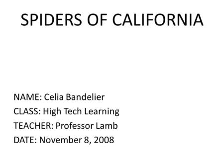 SPIDERS OF CALIFORNIA NAME: Celia Bandelier CLASS: High Tech Learning TEACHER: Professor Lamb DATE: November 8, 2008.