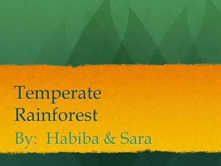 Temperate Rainforest By: Habiba & Sara. Facts about the Temperate Rainforest In summer the temperature rises up to 80 degrees Fahrenheit and in winter.