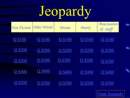 Jeopardy Non-Fiction Other Words DramaPoetry Punctuation & stuff Q $100 Q $200 Q $300 Q $400 Q $500 Q $100 Q $200 Q $300 Q $400 Q $500 Final Jeopardy.