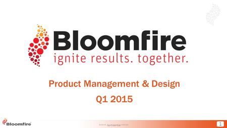 1 Product Management & Design Q1 2015 ***** Confidential *****