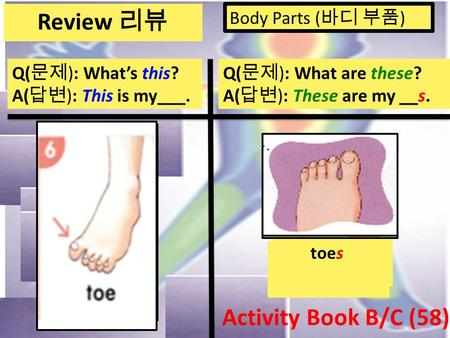 Body Parts ( 바디 부품 ) Q( 문제 ): What's this? A( 답변 ): This is my___. Q( 문제 ): What are these? A( 답변 ): These are my __s. arms hands fingers legsfeet toes.