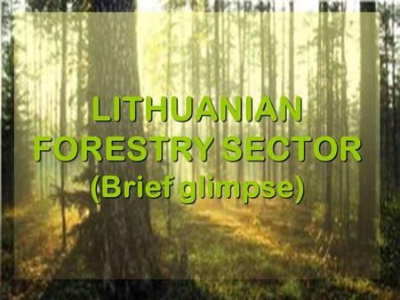 LITHUANIAN FORESTRY SECTOR (Brief glimpse). Change of forest coverage in Lithuania CenturyForest coverage, % XI56 XIII54 XV45 XVIII44 XIX37 Beginning.