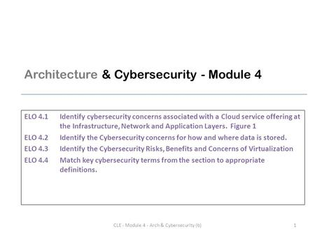 Architecture & Cybersecurity - Module 4 ELO 4.1Identify cybersecurity concerns associated with a Cloud service offering at the Infrastructure, <strong>Network</strong>.